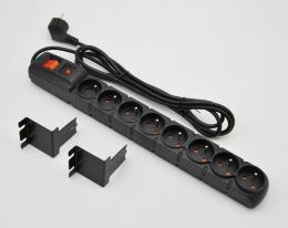 """CSRAB-RPX2 19"""" nap. panel, 1U, 8 x 230 V, přepěťová ochrana"""