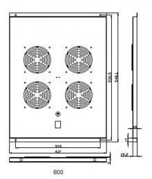 FU.P800.004 ventilační jednotka, 4 ventilátory, h800