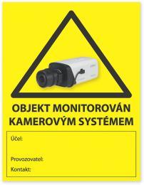Nálepka KAMERA GDPR výstražná nálepka, pole pro popis, účel, kontakt, žlutá