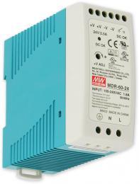 PS-DIN 60-24 spínaný zdroj 24V=/2,5A na DIN, ochrany