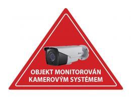 Samolepka CCTV inverzní výstražná červená samolepka CCTV, trojúhelník, na sklo zevnitř