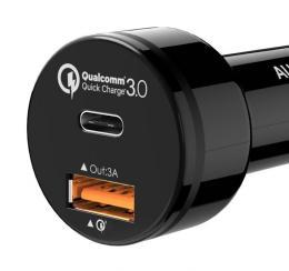 USB 2 port car Charger CC-Y1 USB a USB-C
